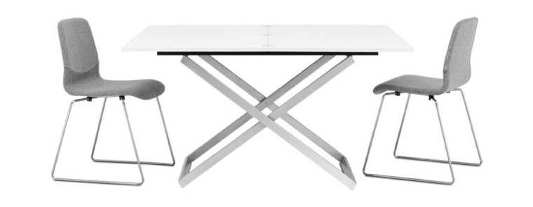 Adjustable-table-white-lacquered-brushed-steel