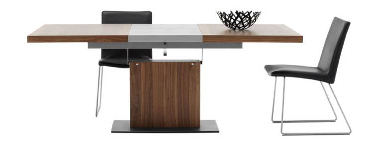 Dining-table-with-supplementary-tabletop-walnut-veneer-brushed-steel