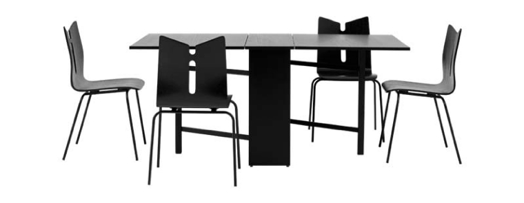 black-dining-table-chair