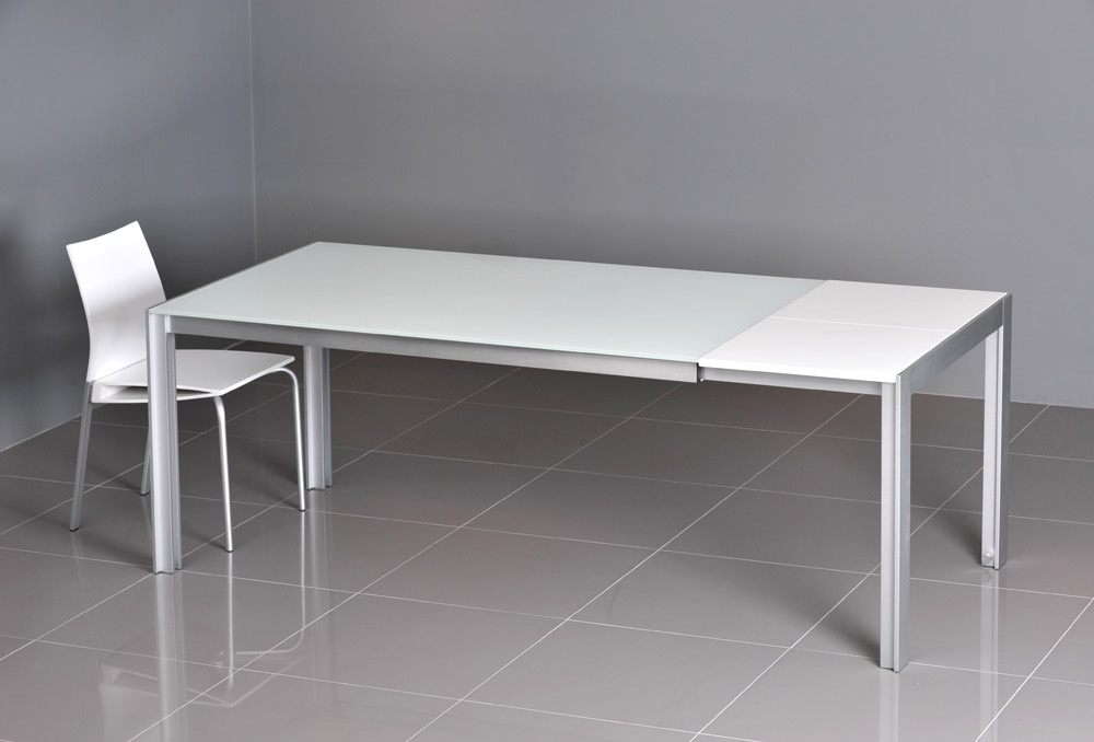 Dining Tables Vola White Glassy Extendable Table