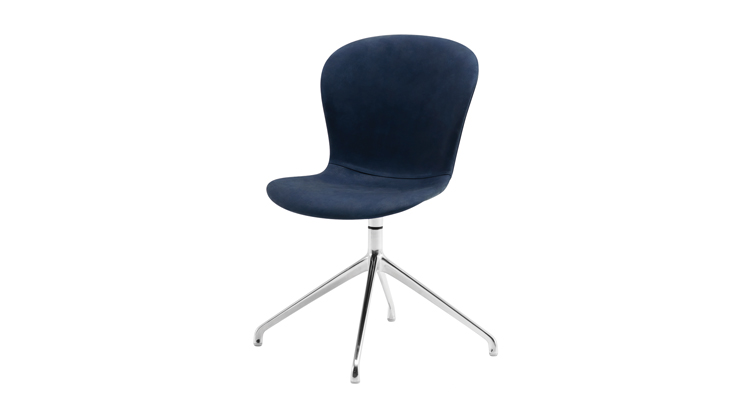 Adelaide Dining Chair Swivel Blue Leather Modern