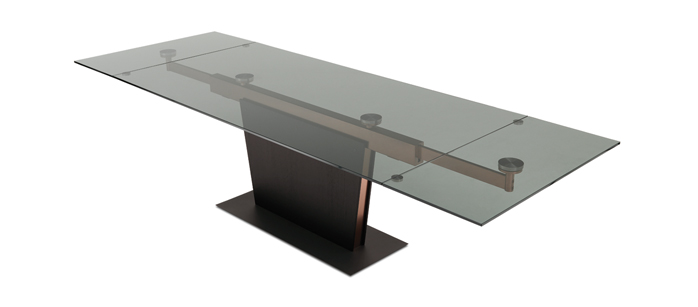 Dining Tables U2013 Monza Copper And Glass Extendable Dining Table