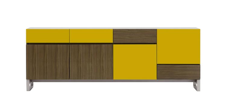Buffets Coby Walnut Veneer Mustard Doors Buffet Sideboard