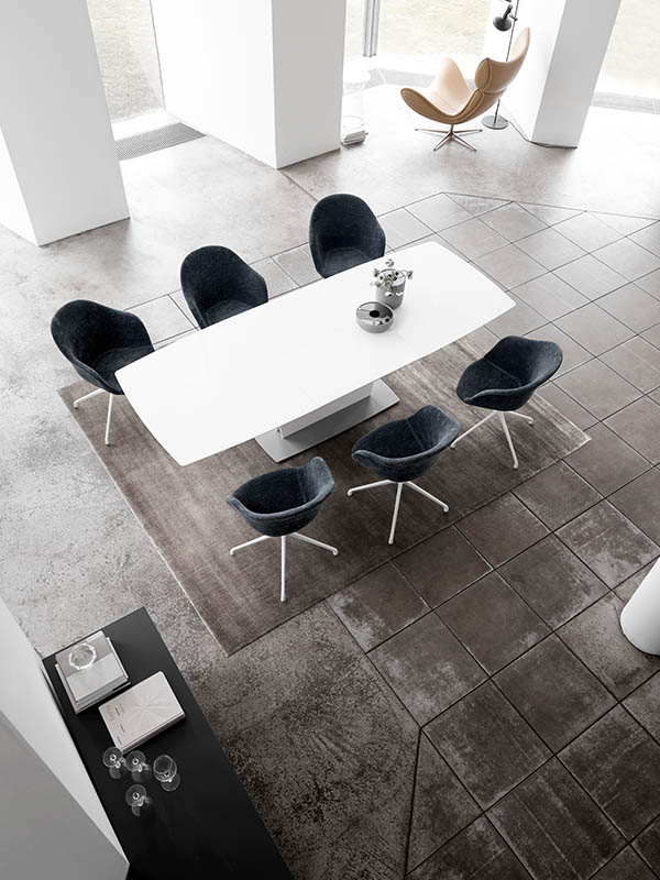 Milano modern white dining table